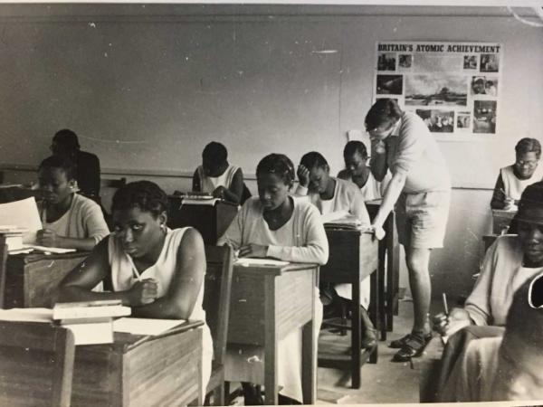 One of the first VSO volunteers at a school in Ghana