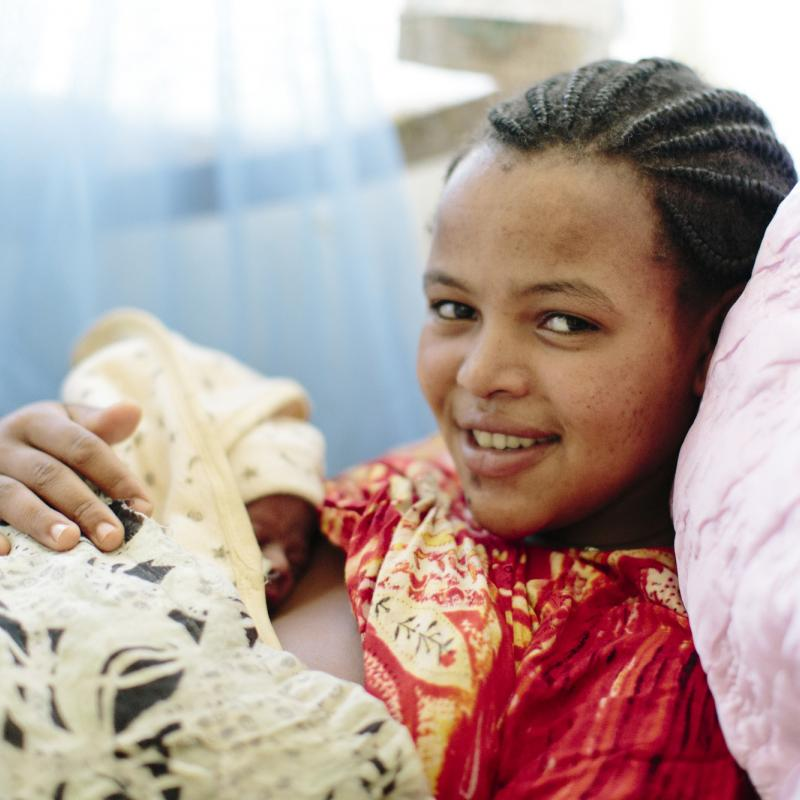 Mother and newborn practice kangaroo care in Ethiopia