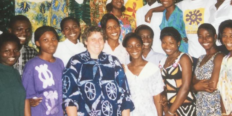 VSO volunteer Sally Darlington with students at Takoradi Polytechnic in Ghana