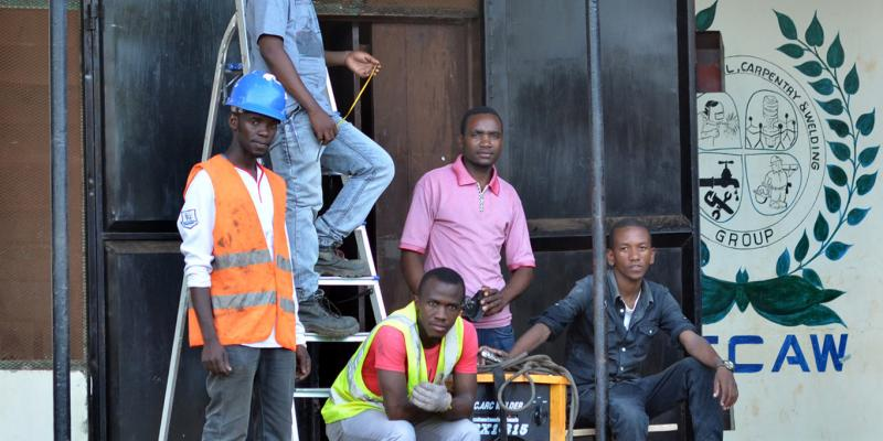 Members of PECAW Group, a trades company in Tanzania supported by VSO