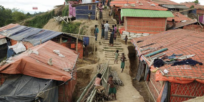 Image of Rohingya refugee camp, Cox's Bazar, Bangladesh showing housing structures