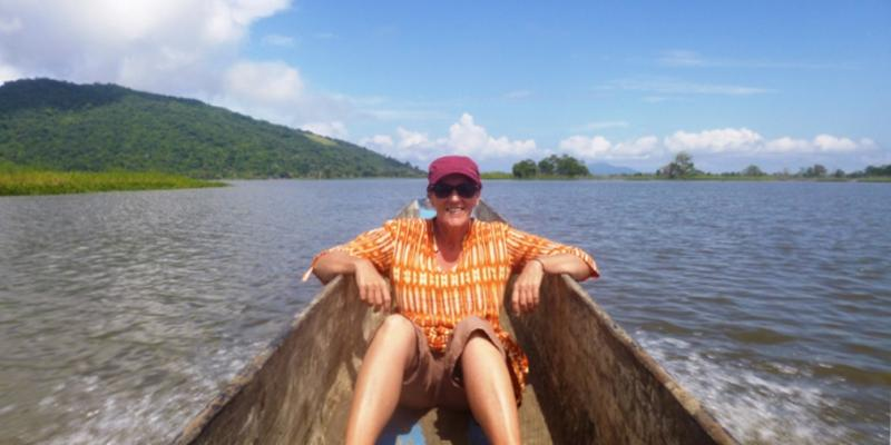 VSO volunteer Kate on the Sepik river