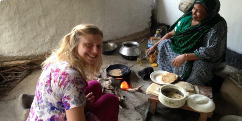 Volunteer Kate Weaver in her VSO ICS host family in Bangladesh