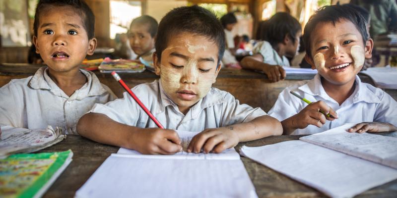 Boys in a classroom in a small village school near Mindat town, Myanmar.