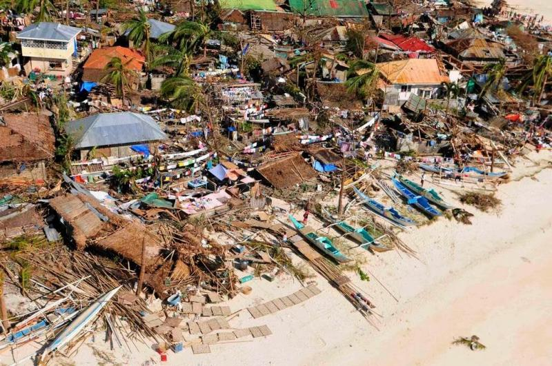Ormoc City, Philippines damaged by Typhoon Haiyan in 2013