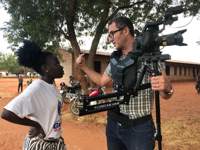 Volunteer filmmaker Justin on set in Tanzania