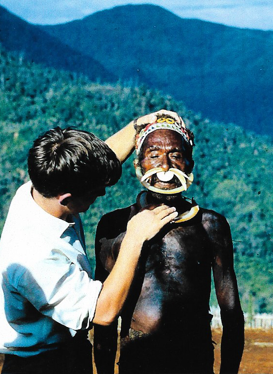 Dr Nick Maurice is pictured here examining a patient in Papua New Guinea.