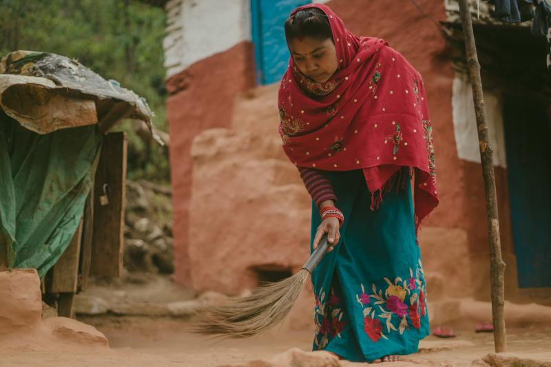 Wife doing domestic work in Nepal
