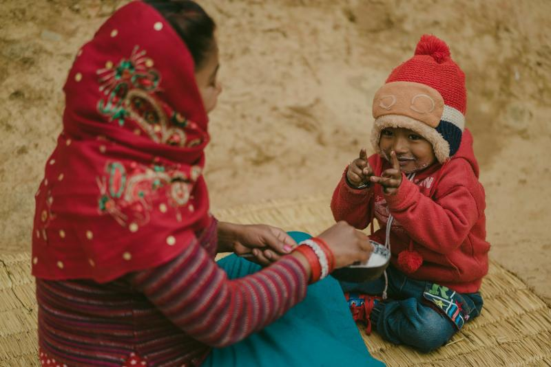 Mother and son in rural Nepal
