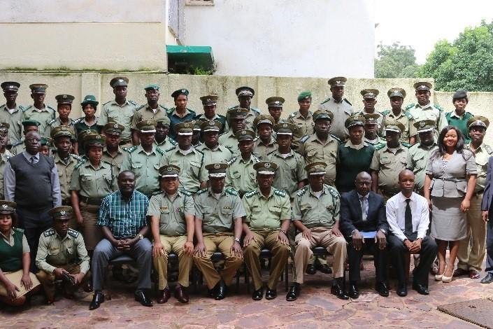 Zambia correctional officers with VSO staff during training